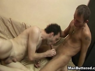 Hairy Gay Guy With A Super Skinny Tattooed Body Getting His Cock Sucked