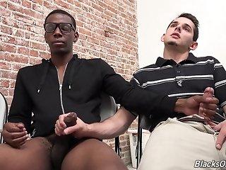 Cute Gay Guy With Short Dark Hair Sucking A Stranger's Big Black Cock
