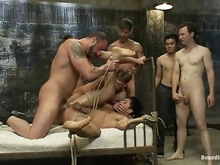 Dominic Pacifico Gets Suspended And Fucked Hard In A Group Bdsm Clip